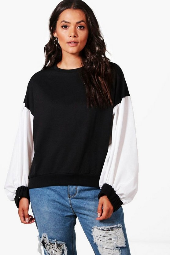 Plus Anna Balloon Sleeve Contrast Sweat