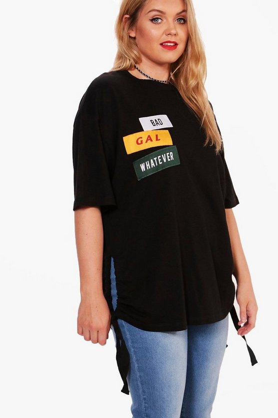 Plus Holly Slogan Side Tie Tee