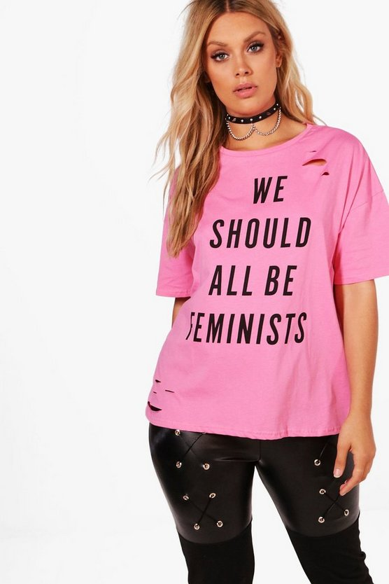 Plus Francesca Feminist Distressed Tee