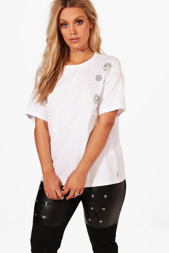 Plus Nicole Embellished Oversized Tee