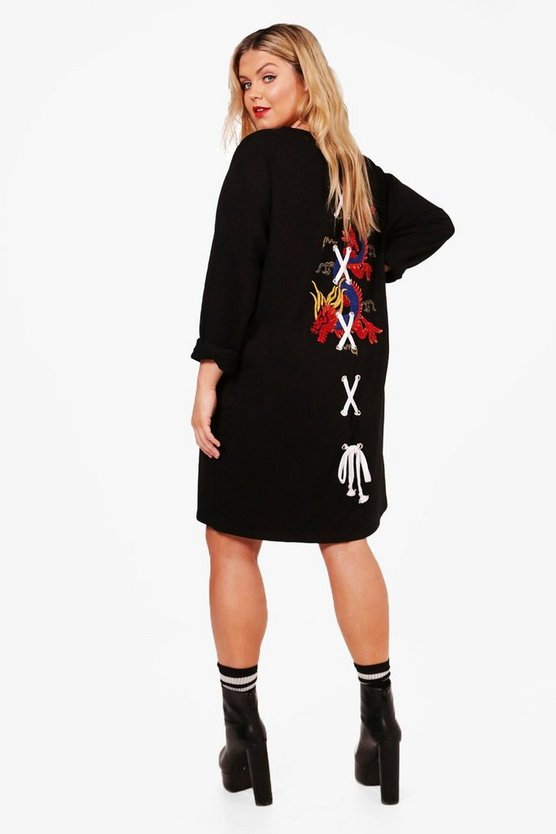Plus Kate Dragon Embroidery Lace Up Sweat Dress