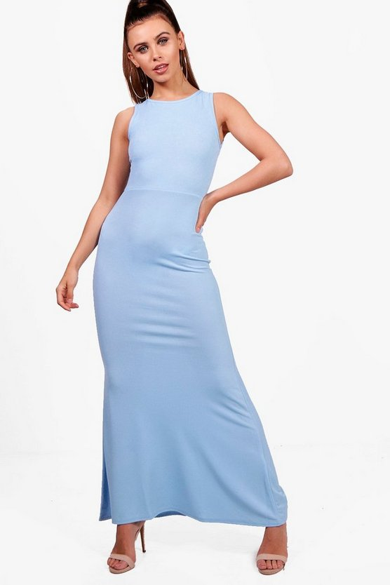 Petite Aimee Slash Neck Fishtail Maxi Dress
