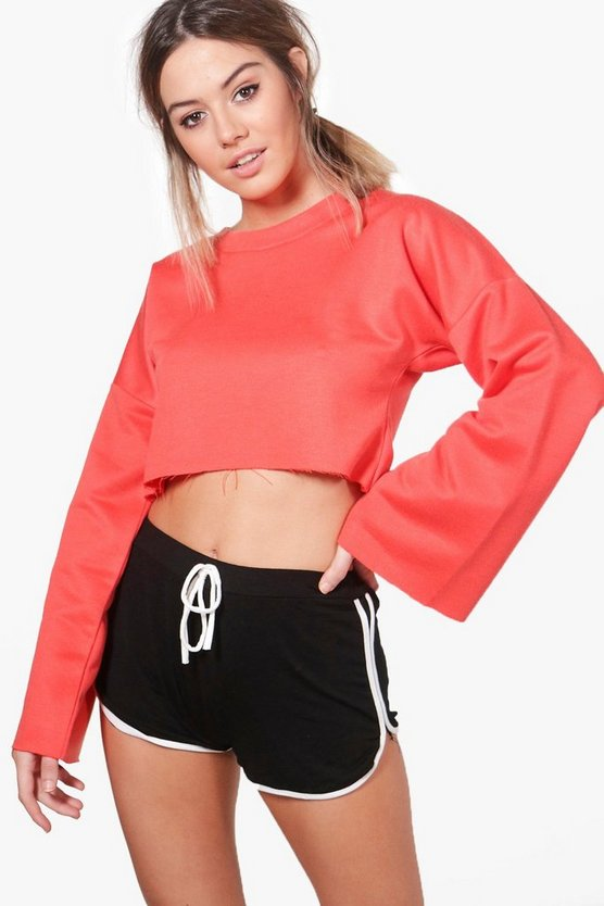 Petite Rebecca Wide Sleeve Crop Sweat