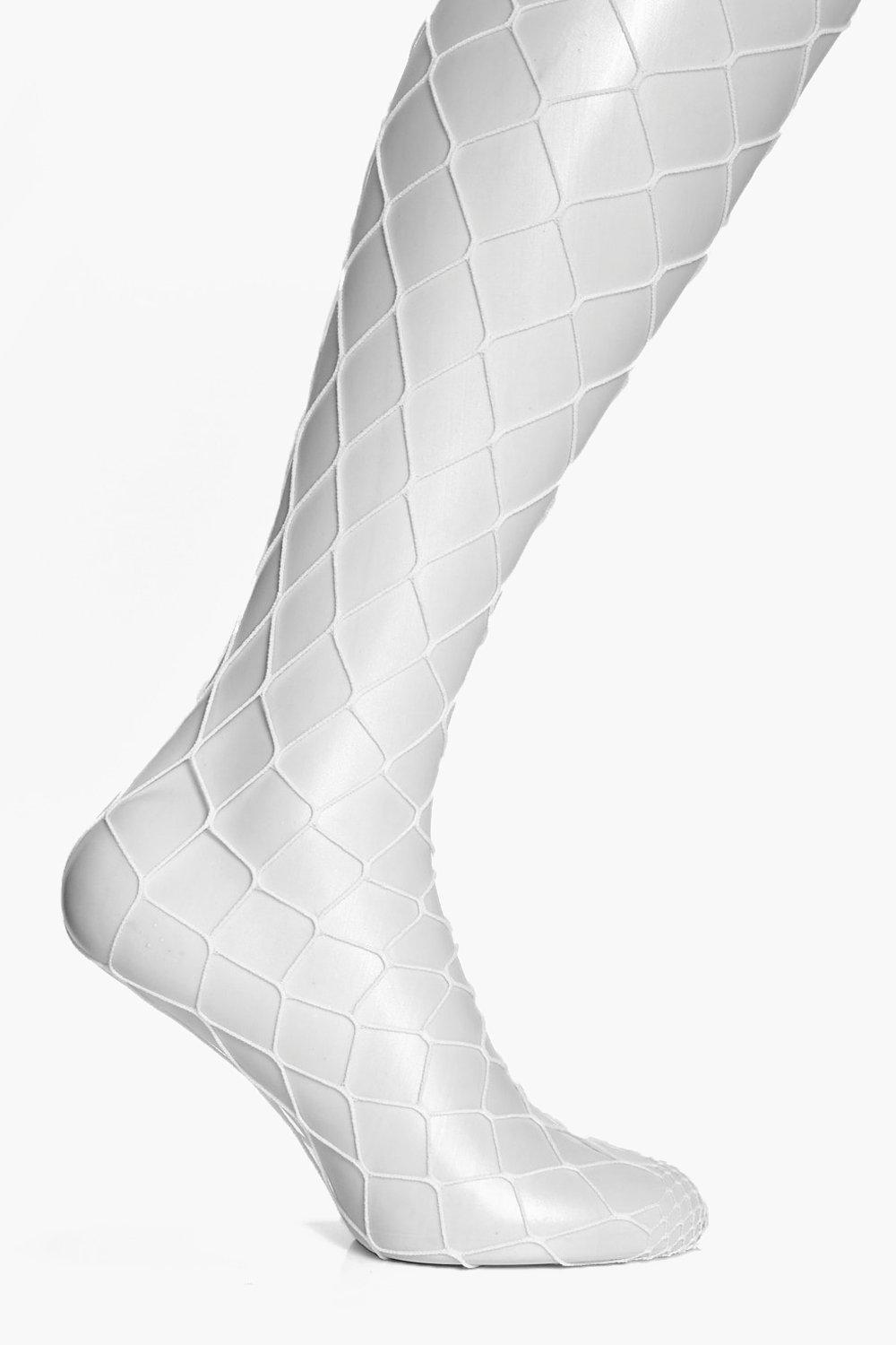 Erin White Large Fishnet Tight - white - Plus Erin