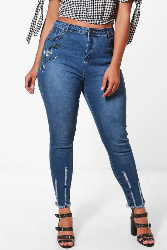 Plus Embroidered Skinny Jean
