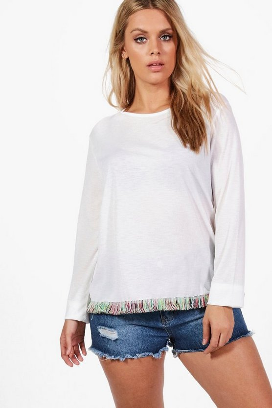 Plus Sophie Tassle Trim Top
