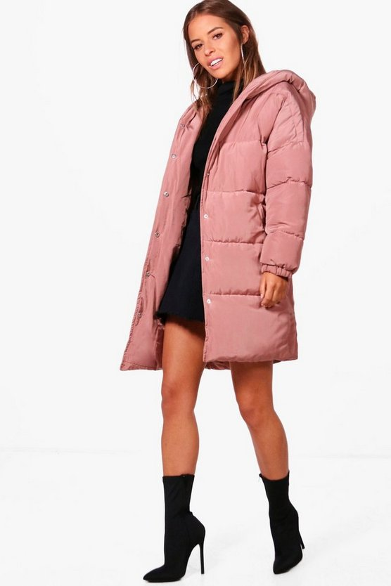 Petite Hooded Dip Back Padded Coat