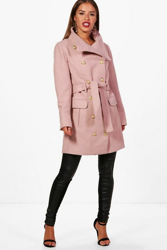 Petite Patsy Funnel Neck Belted Military Coat