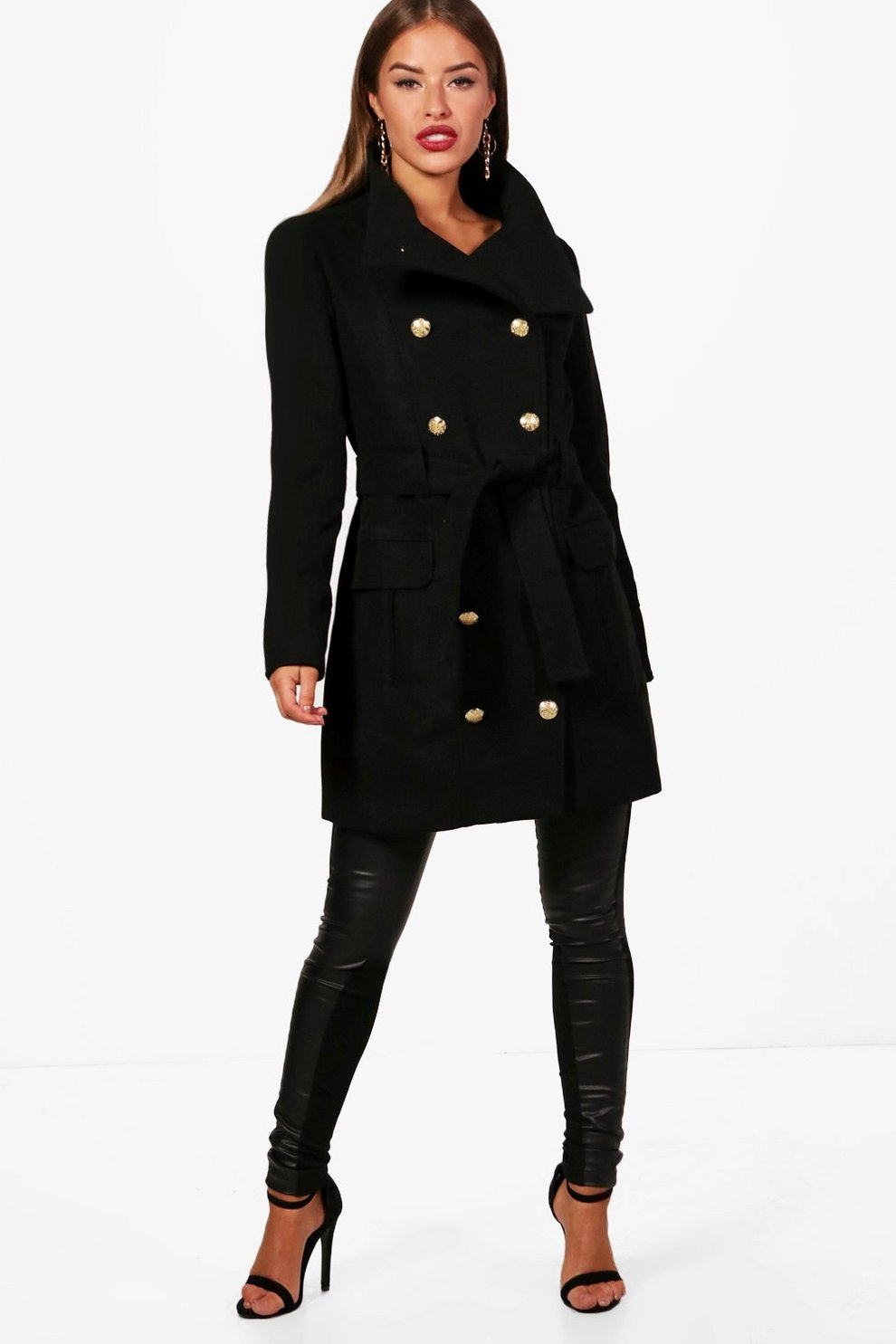 Petite Abigail Funnel Neck Belted Military Coat | Boohoo