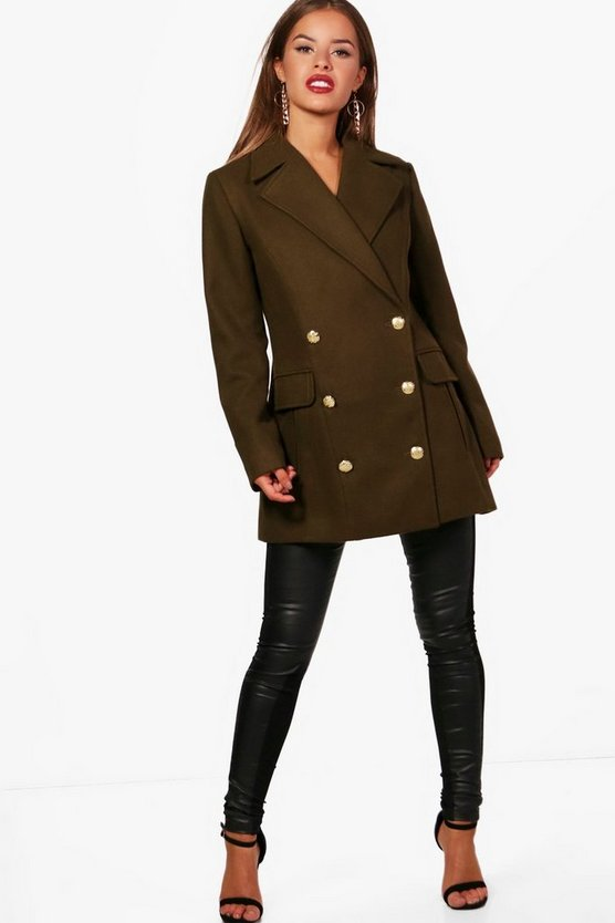 Petite Nadia Double Breasted Military Coat