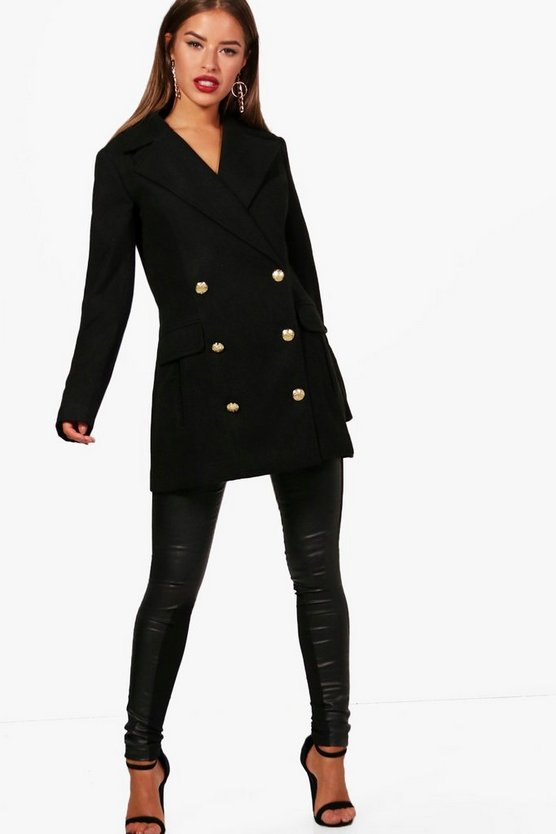 Petite Zoe Double Breasted Military Coat