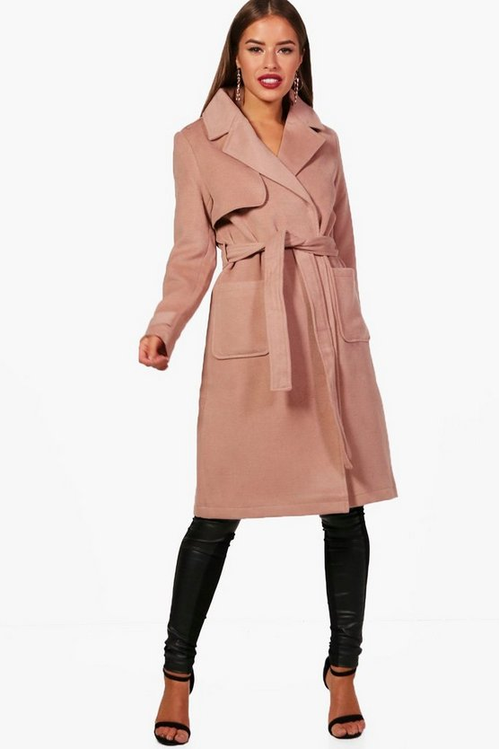 Petite Lacey Military Style Wool Look Trench