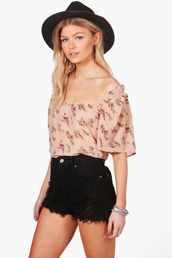 Petite Megan Off The Shoulder Cross Strap Top