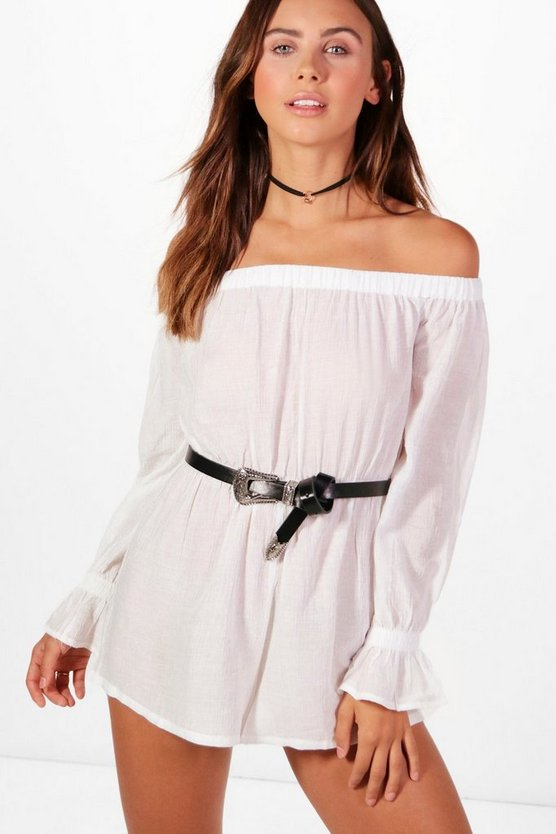 Petite Imogen Shirred Off The Shoulder Playsuit