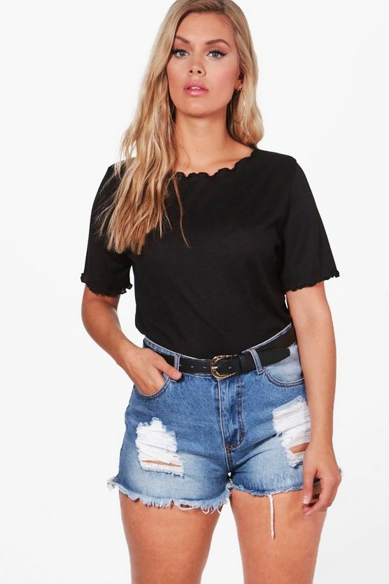 Plus Isla Frill Edge Short Sleeve Tee