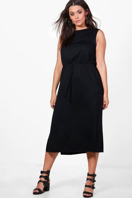 Plus Amelia Jersey Basic Split Midi Dress