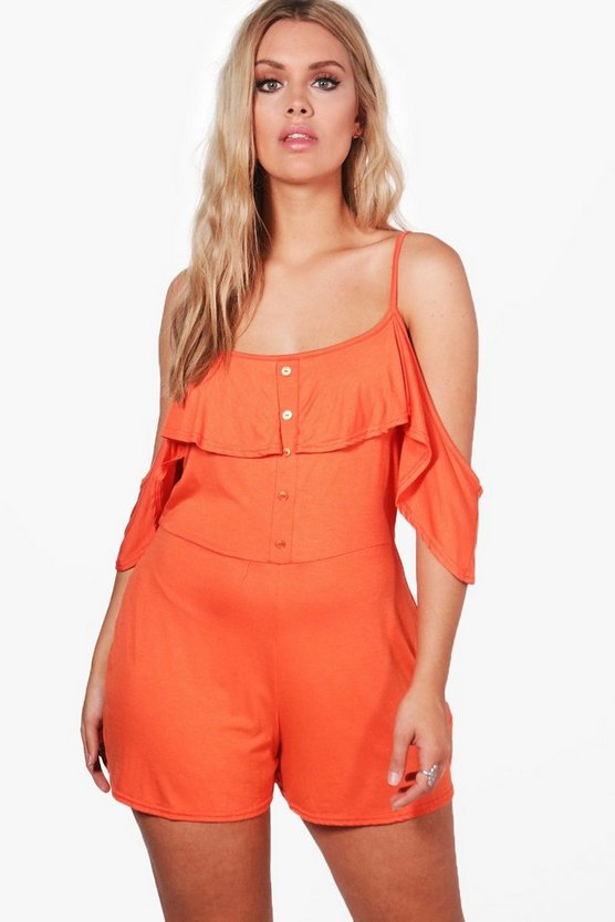 Plus Mia Jersey Cold Shoulder Button Detail Playsuit