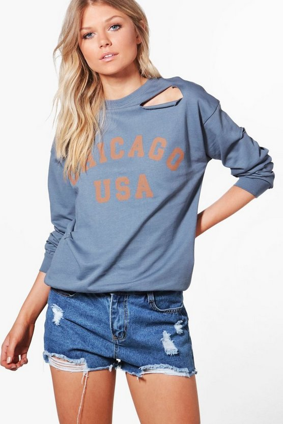 Petite Maisie Distressed Oversized Slogan Sweat