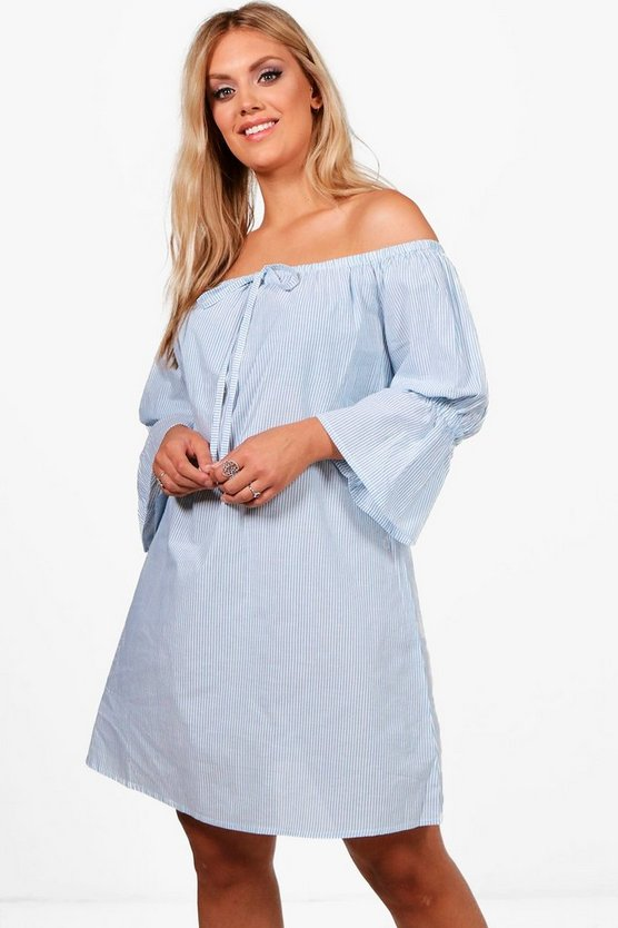 Plus Diana Stripe Pom Pom Off Shoulder Dress