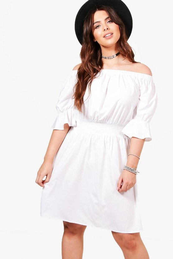 Plus Tia Off Shoulder Frill Sleeve Dress