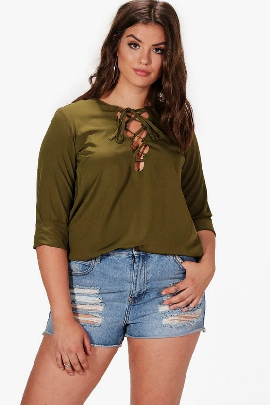 Plus Kaitlyn Lace Up Shirt