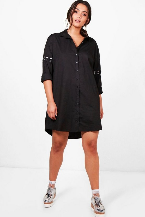 Plus Stacey Eyelet Detail Shirt Dress