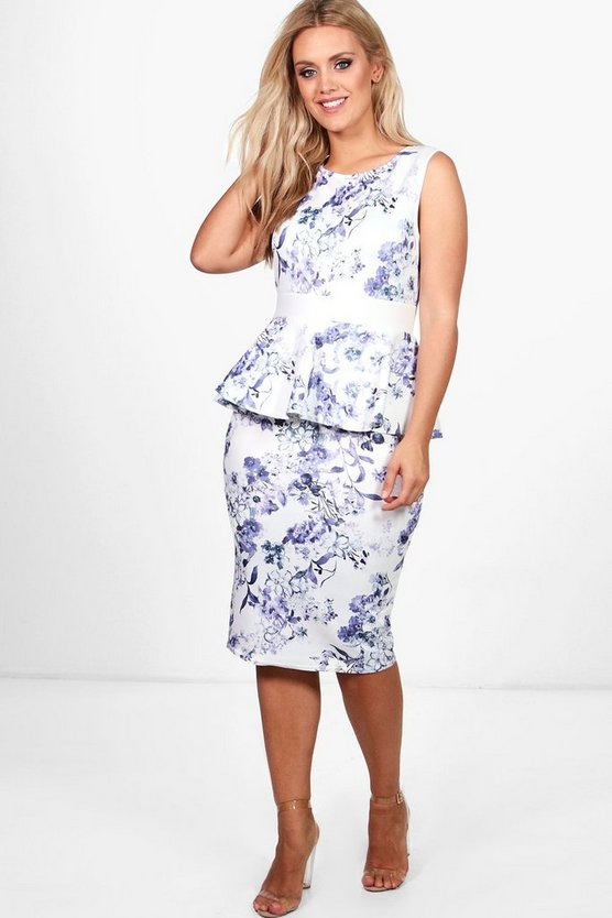 Plus Lola Peplum Midi Floral Dress