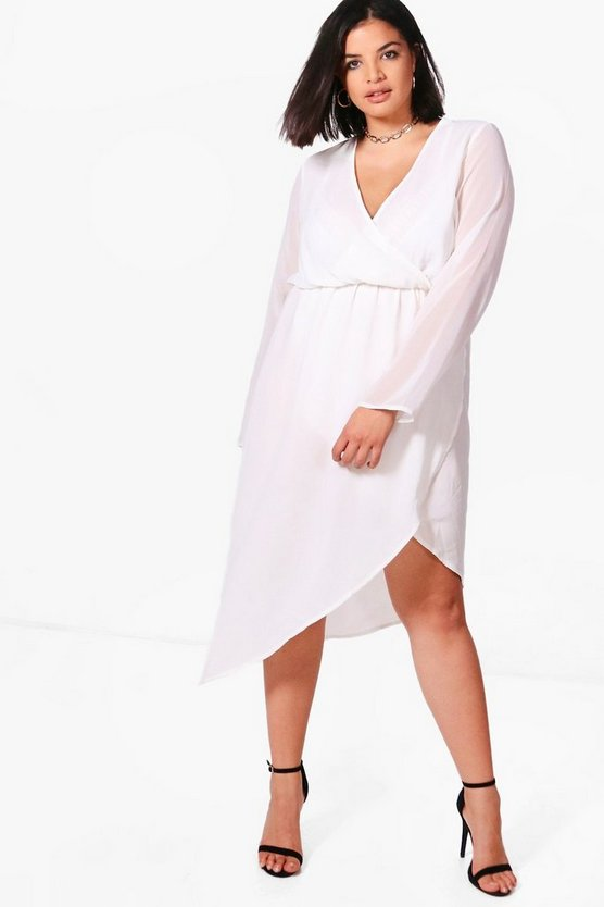 Plus Maria Wrap Front Midi Dress