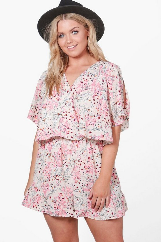 Plus Bethany Flippy Floral Print Playsuit