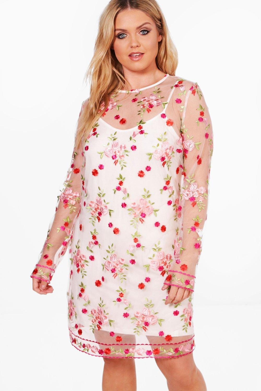 Plus Nancy Embroidered Mesh Shift Dress white