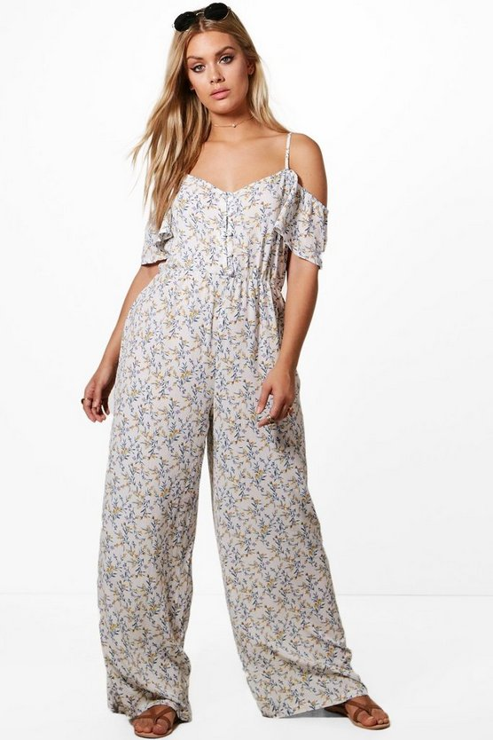 Plus Drape Sleeve Floral Wide Leg Jumpsuit