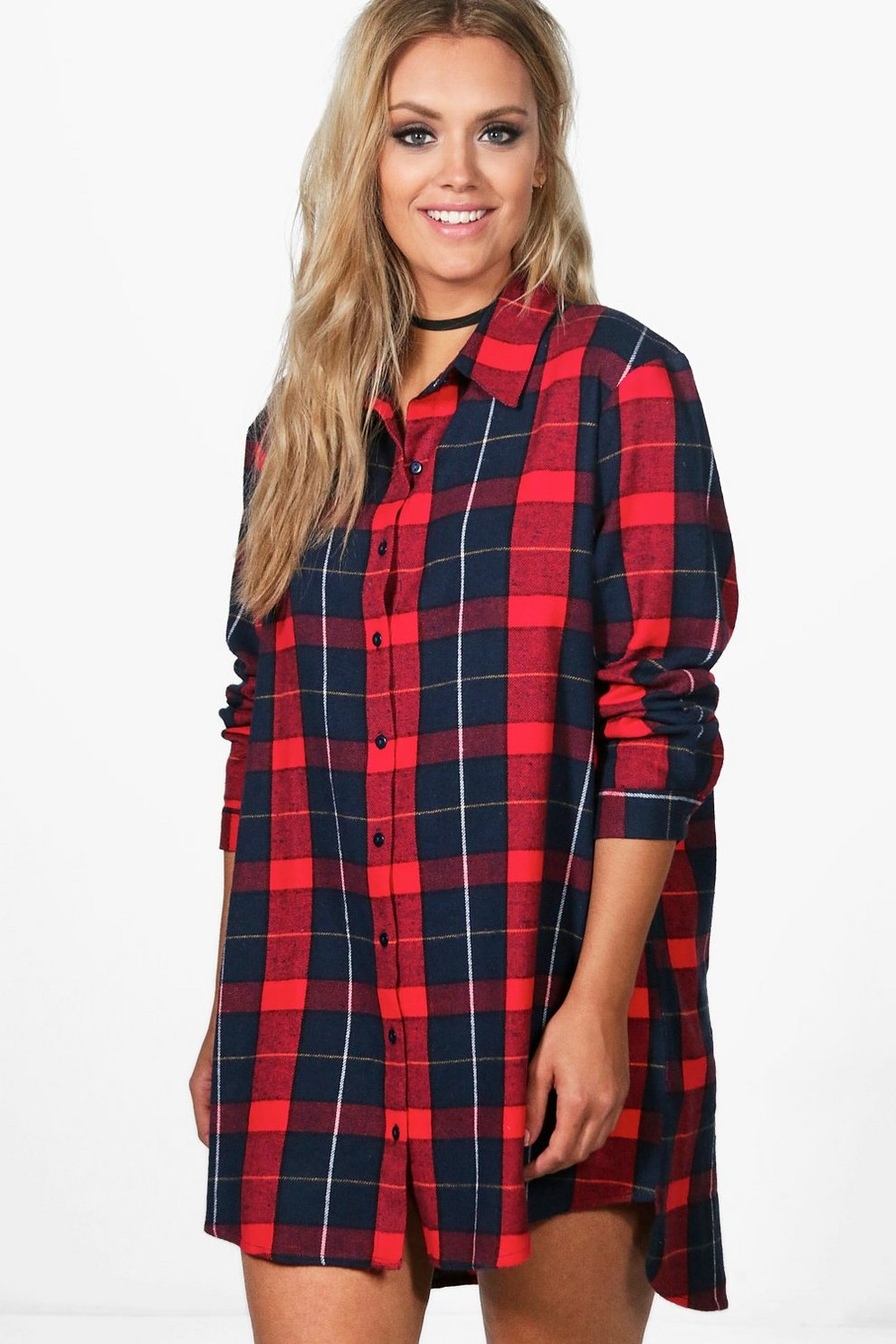 100% Original For Sale Buy Cheap How Much Boohoo Oversized Check Shirt Dress Buy Cheap Official Free Shipping Cheap Real DS26ox