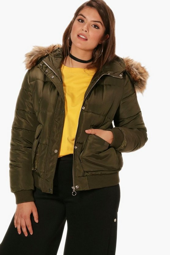 Plus Ella Oversized Faux Fur Trim Padded Jacket