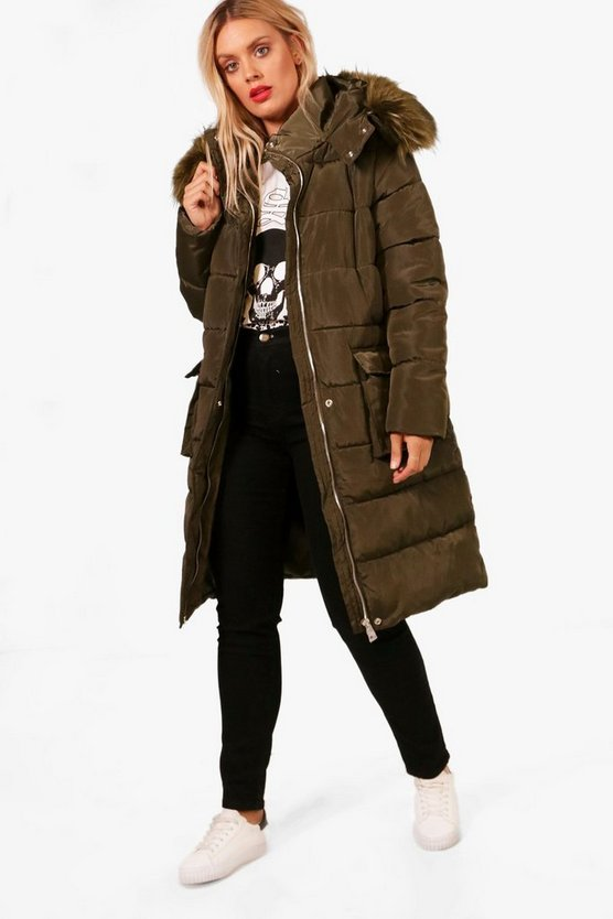 Plus Heidi Faux Fur Trim Longline Padded Coat