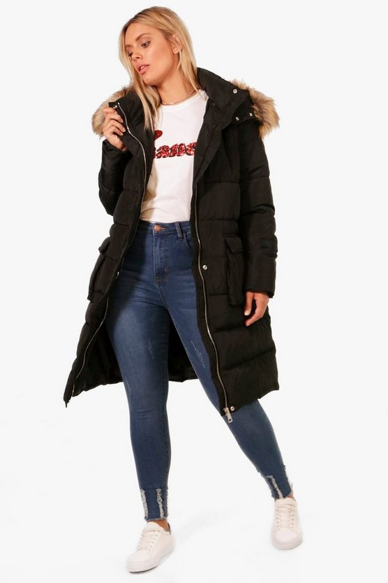 Plus Libby Faux Fur Trim Longline Padded Coat