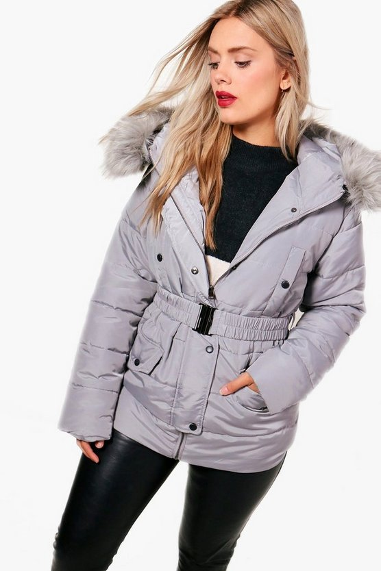 Plus Ebony Faux Fur Belted Padded Jacket