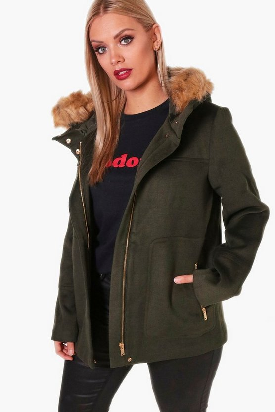 Plus Kiera Fur Hooded Parka