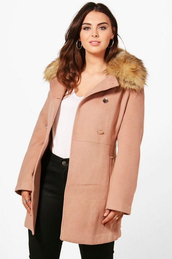 Plus Leah Faux Fur Collar Coat
