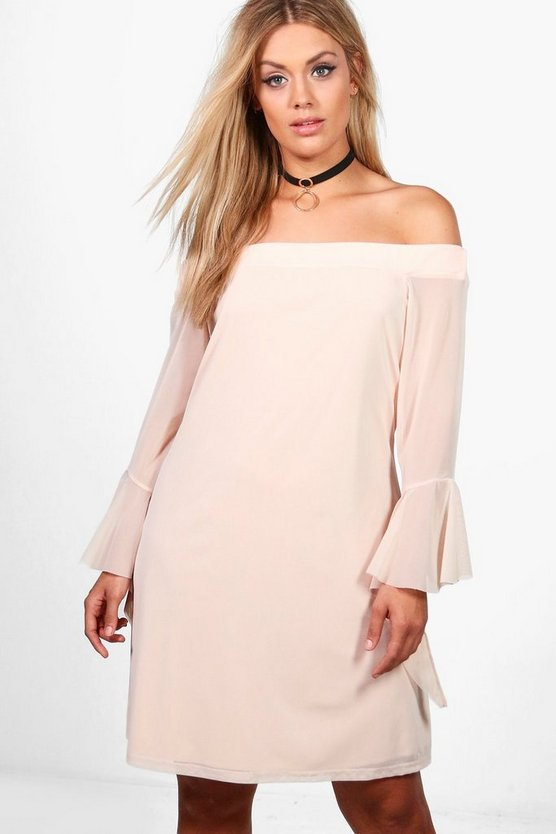 Plus Eva Off Shoulder Flute Sleeve Swing Dress