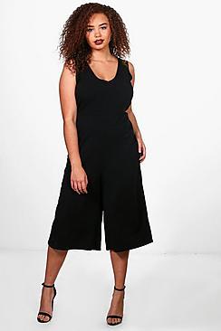 Plus Mae Jumpsuit mit tiefem V-Ausschnitt und Hosenrock - Boohoo.com