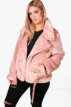 Plus Freya Fur and PU Trim Aviator Jacket