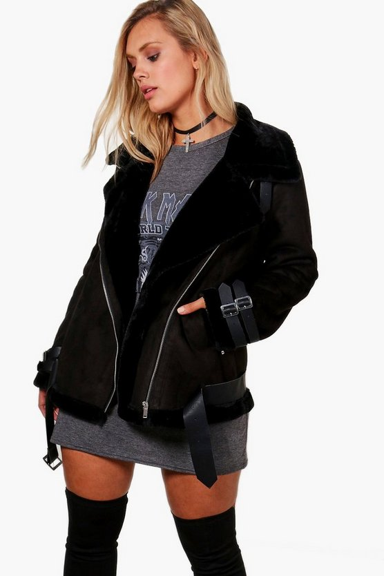 Plus Eloise Bonded Aviator Jacket