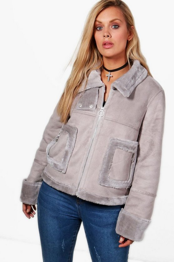 Plus Layla Faux Fur Bonded Aviator Jacket