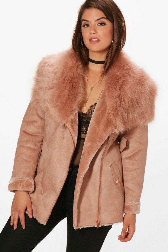 Plus Faux Fur Collar Belted Jacket