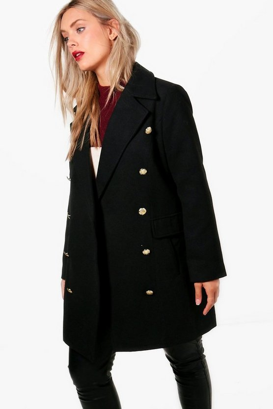 Plus Ella Military Button Wool Coat