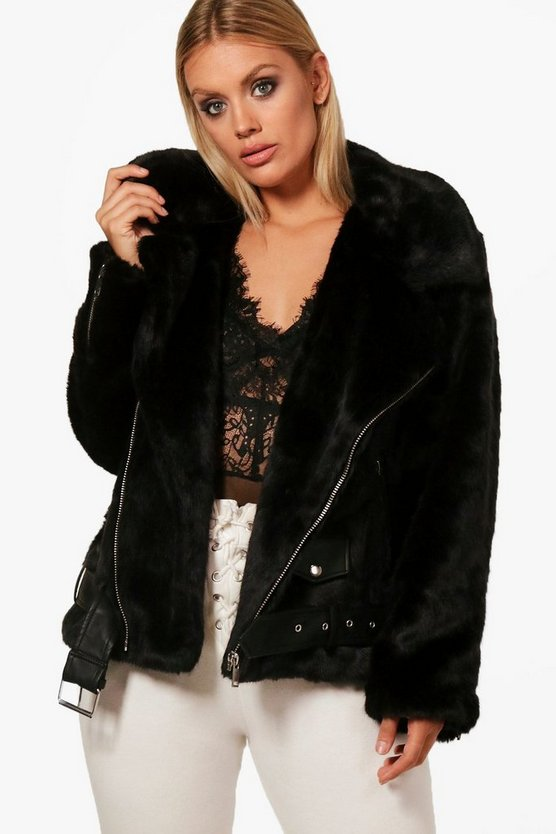 Plus Izzy Faux Fur and PU Trim Aviator Jacket