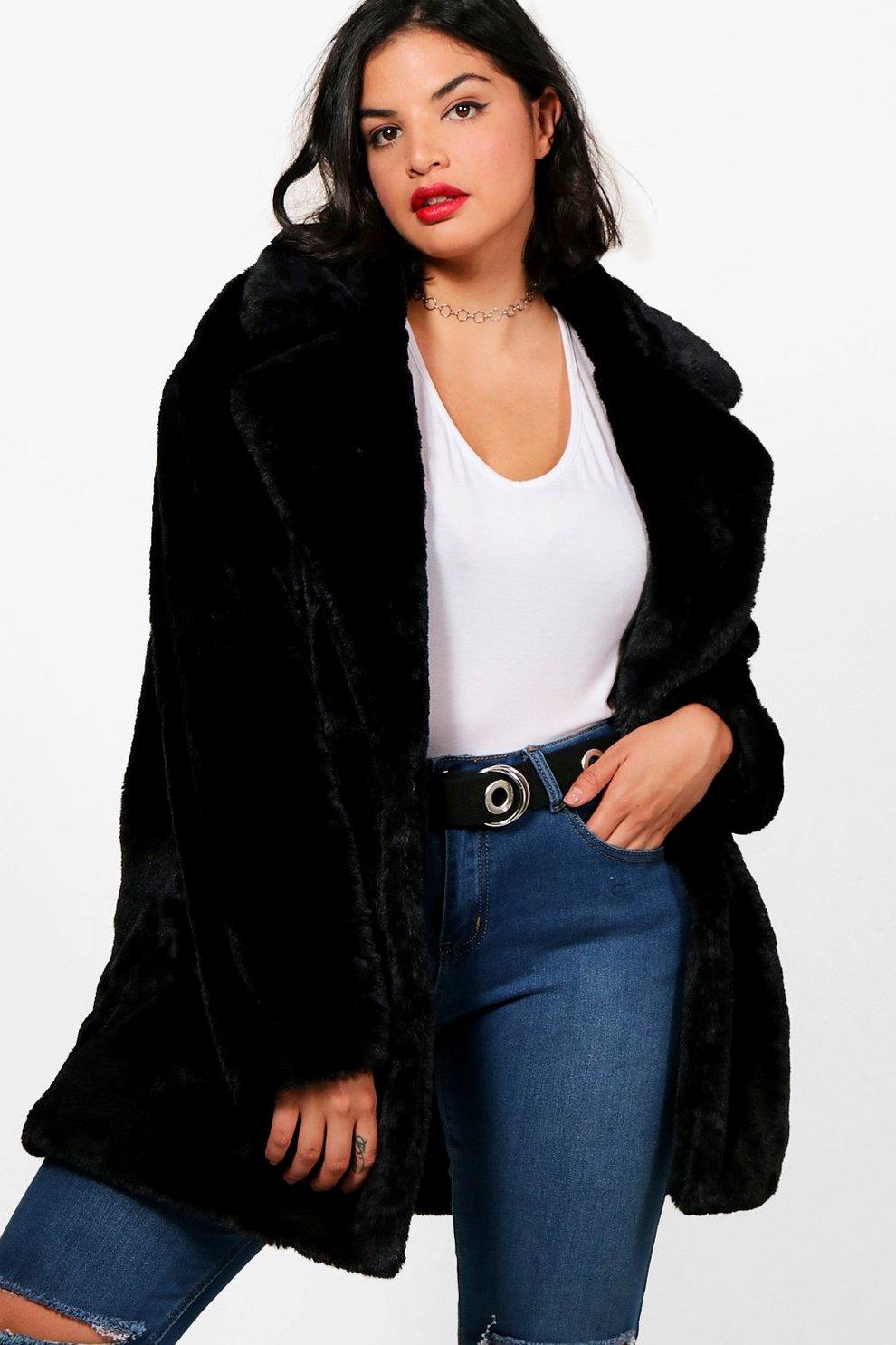 Black faux fur teddy coat
