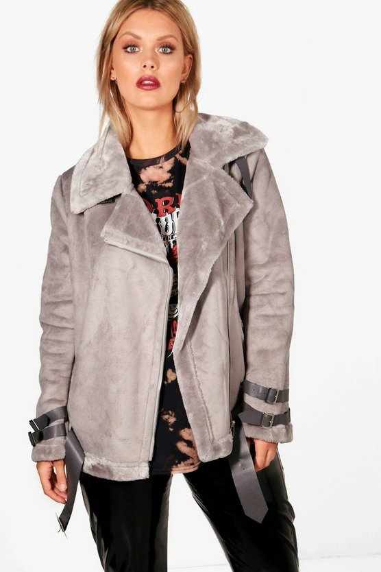 Plus Sadie Bonded Aviator Jacket