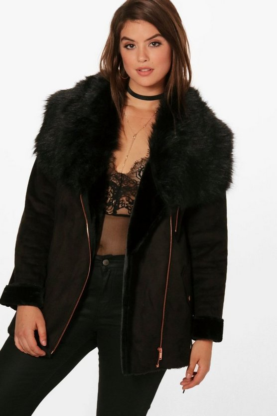 Plus Emma Fur Collar Belted Jacket