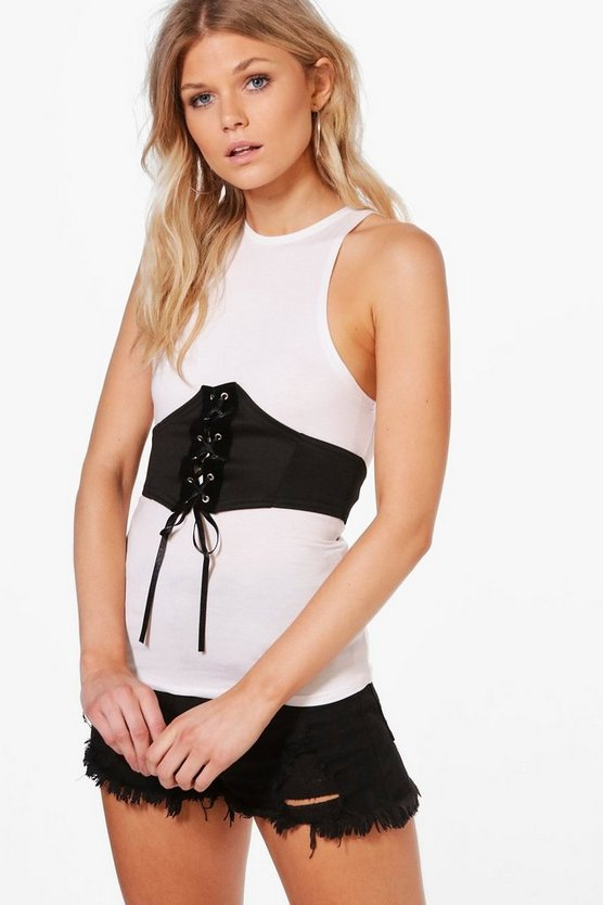 Petite Monica Racer Neck Belted Cami Top